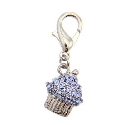 Crystal Cupcake Collar Charm - Blue