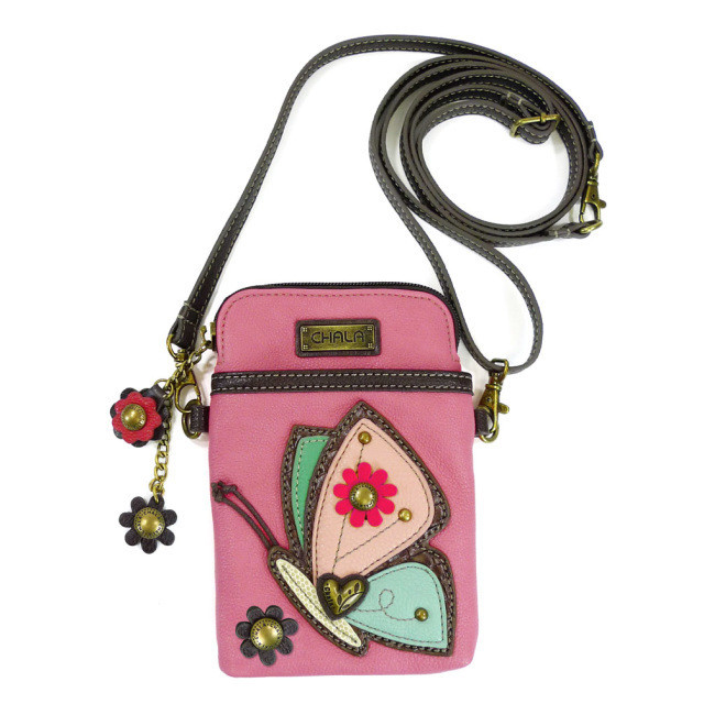 Cell Phone Crossbody - Pink Butterfly