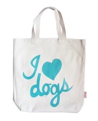 I Heart Dogs Tote - Aqua