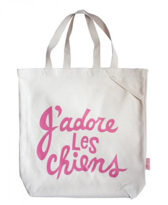 J'adore Les Chiens Tote - Pink
