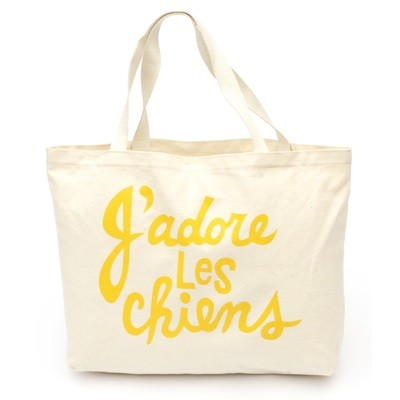 J'adore Les Chiens Tote - Yellow