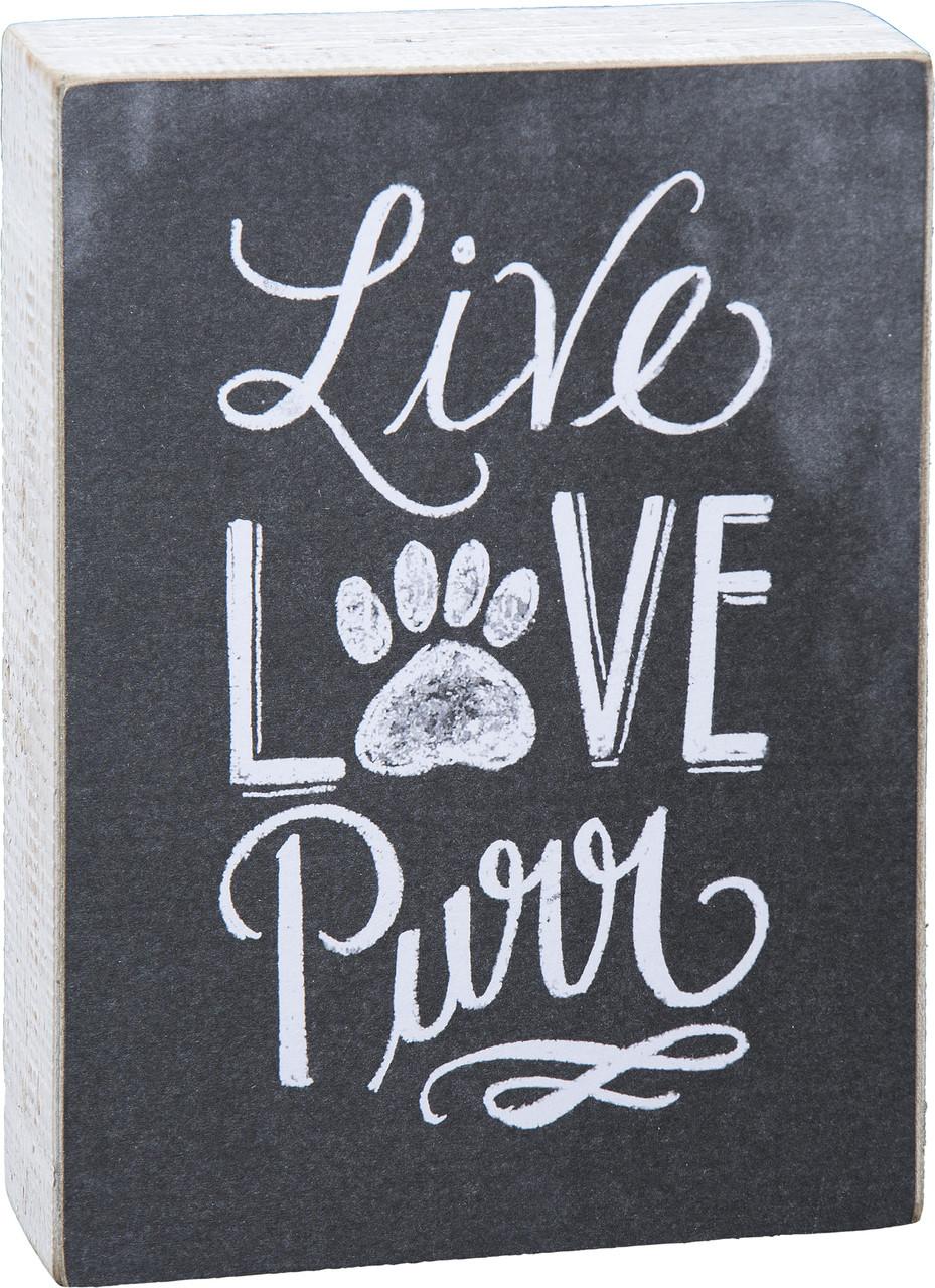 "Chalk Sign - ""Live Love Purr"""