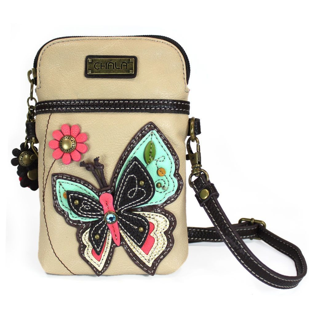 Cell Phone Crossbody - Ivory Butterfly