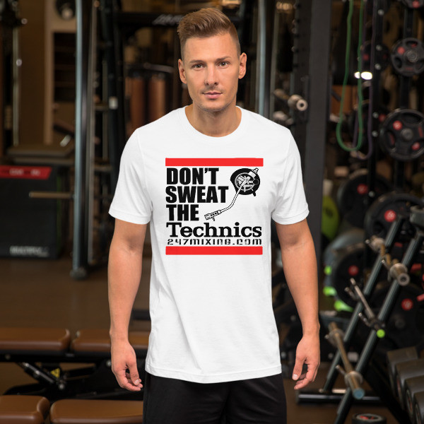 Don't Sweat black Letters Unisex Short Sleeve Jersey T-Shirt with Tear Away Label