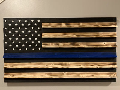Thin Blue Line Challenge Coin Flag holder
