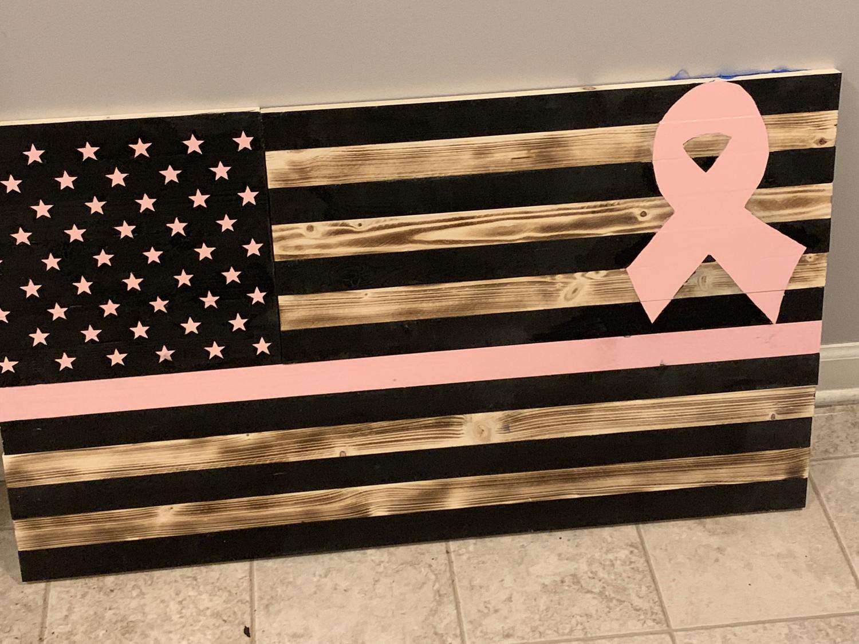 Cancer Awareness Wooden Flag