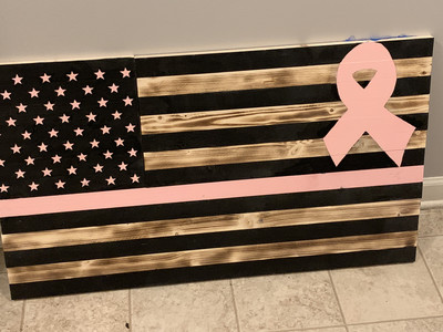 Cancer Awareness Wooden Flag