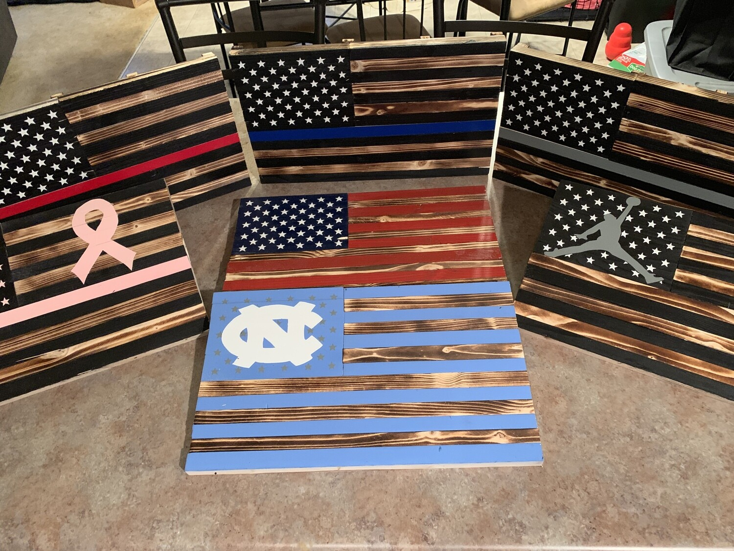 Mini wood flags.