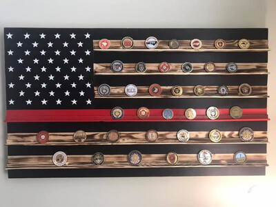 Thin Red Line Challenge Coin Holder