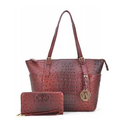 Embossed Textured Tote with Gold Monogram and Wallet