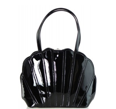 Clam Shell Faux Patent Leather Bag