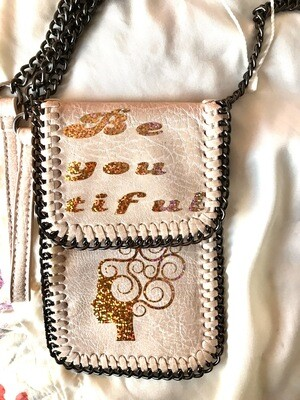 Be You Tiful Blush Pink - Whipstitch Chain Cell Phone Case