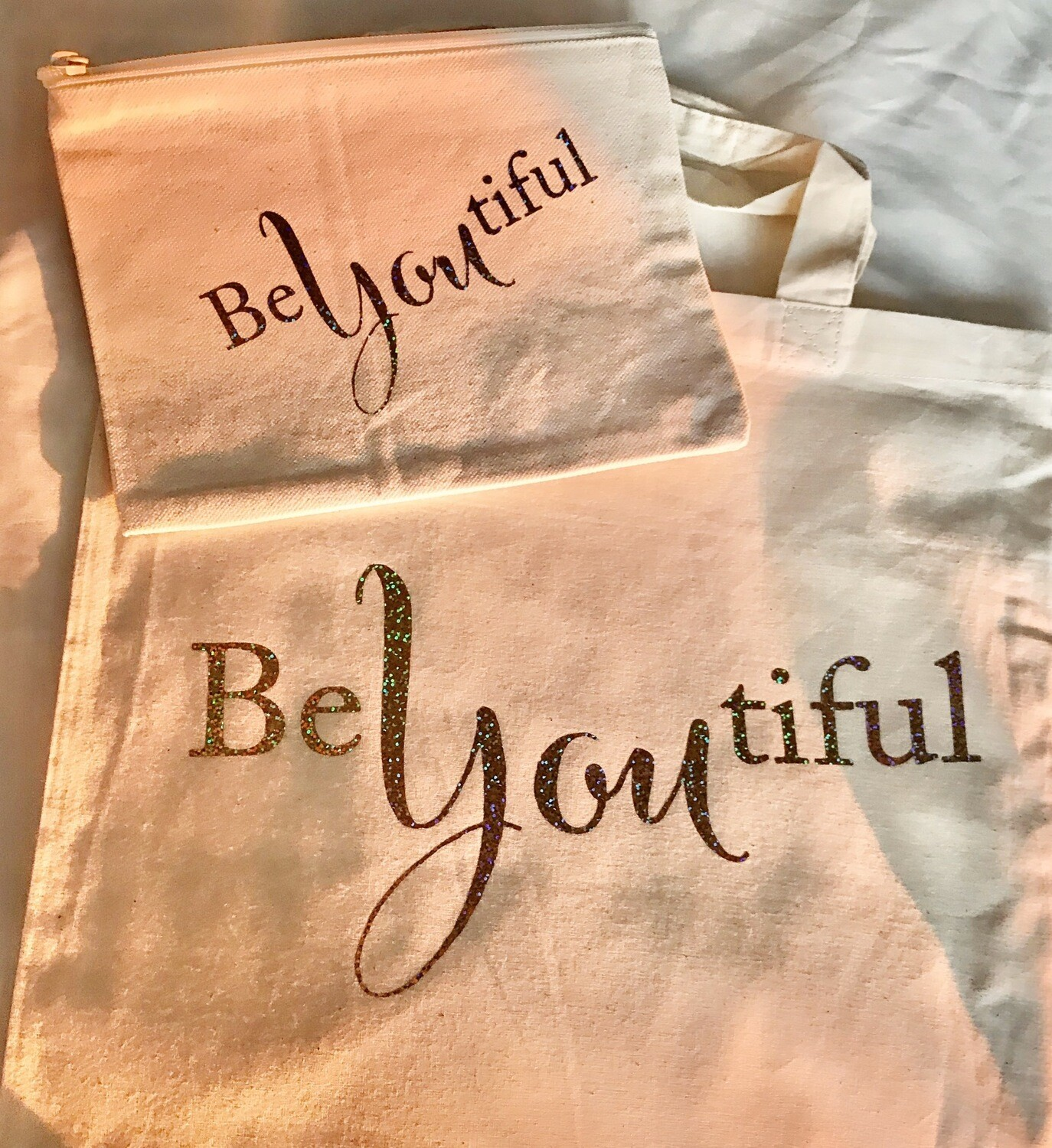 Be You Tiful - Collective Canvas Shoulder Bag And Cosmetic Case