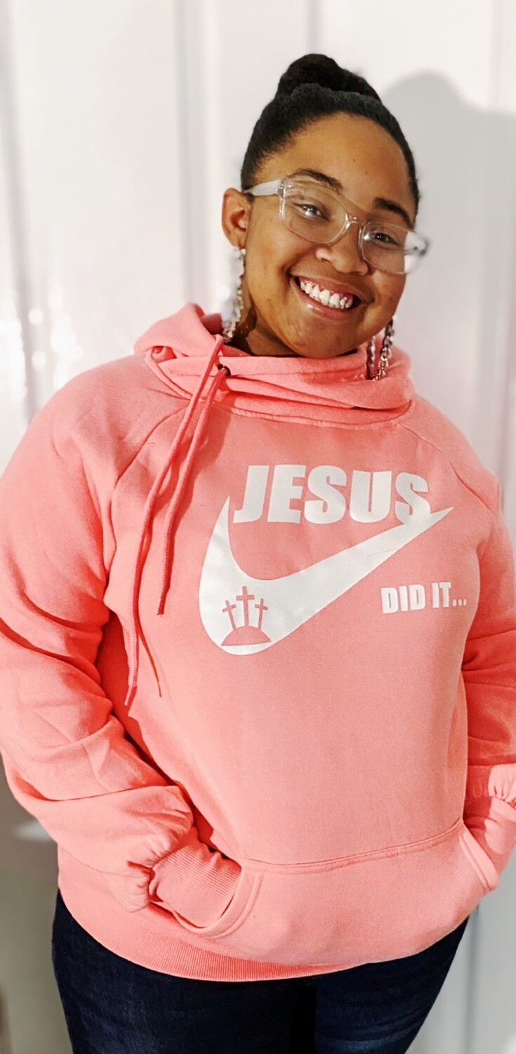 Limited Edition Salmon Pink Jesus Did It Hoodie