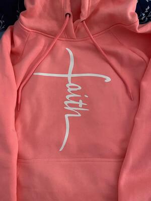 Cross Salmon Pink Hoodie