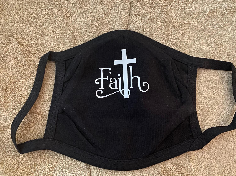 Faith Design on black Mask