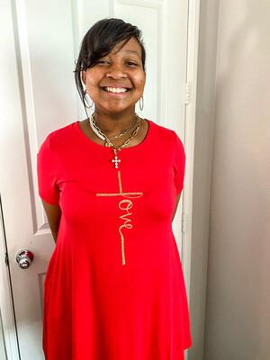 Love/Cross Red Shirt Dress w/ Pockets