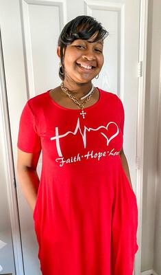 Faith Hope Love Red Shirt Dress