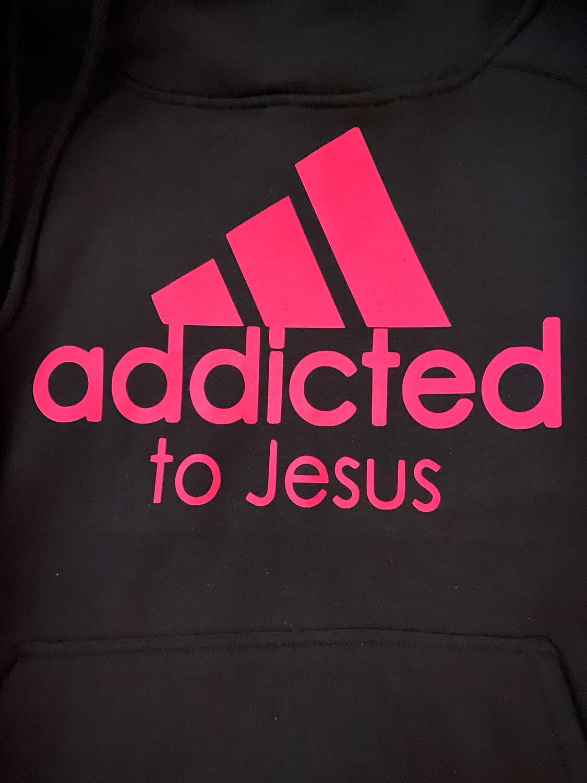 Addicted to Jesus Side Tie Hoodie - Hot Pink