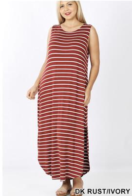 Striped Maxi w/ Side Slits