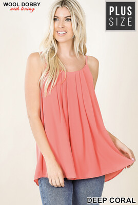 Deep Coral Pleated Top