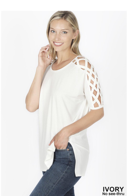 Ivory Criss-Cross Sleeve Top