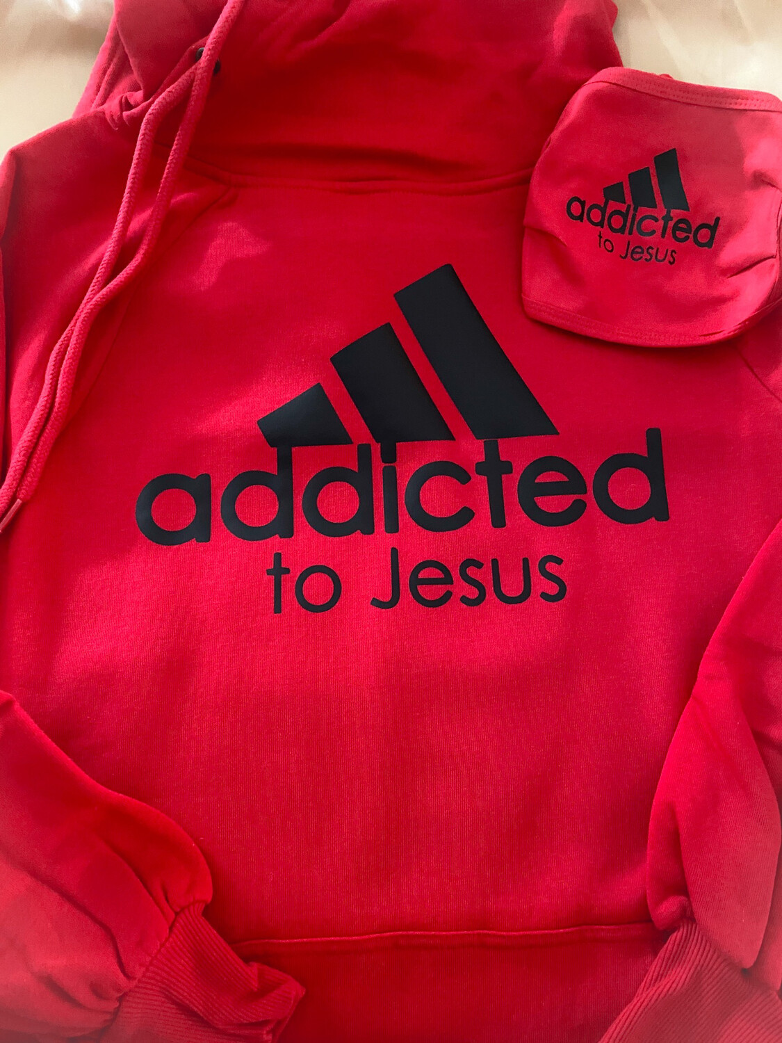 Addicted To Jesus Side Tie Hoodie W/ Matching Face Mask