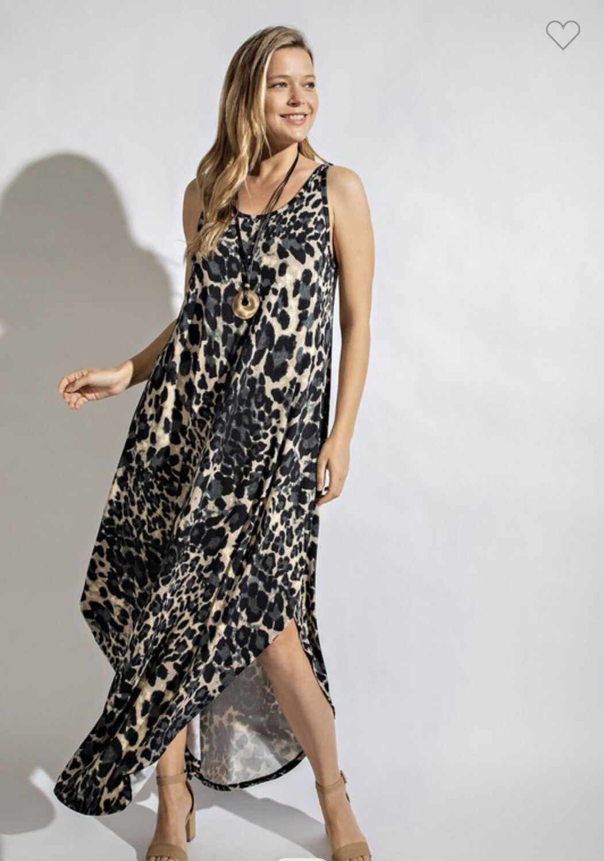 Animal Printed Sleeveless Maxi Dress