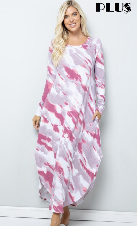 Tie-Dye Long Sleeve Maxi Dress w/Pockets