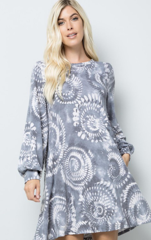 Tie Dye Swirl Shirt Dress