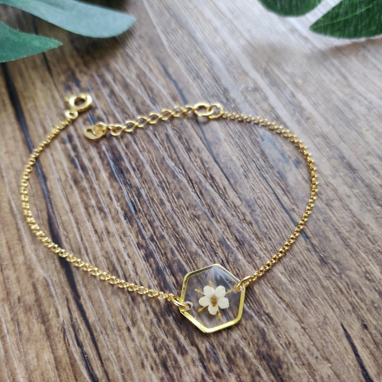 ELDERFLOWER: armband goud hex klein