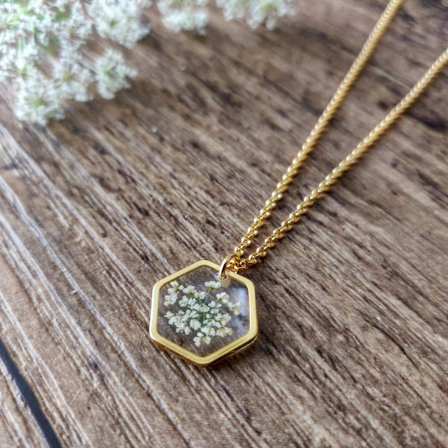 BLOSSOMS: ketting goud hex klein