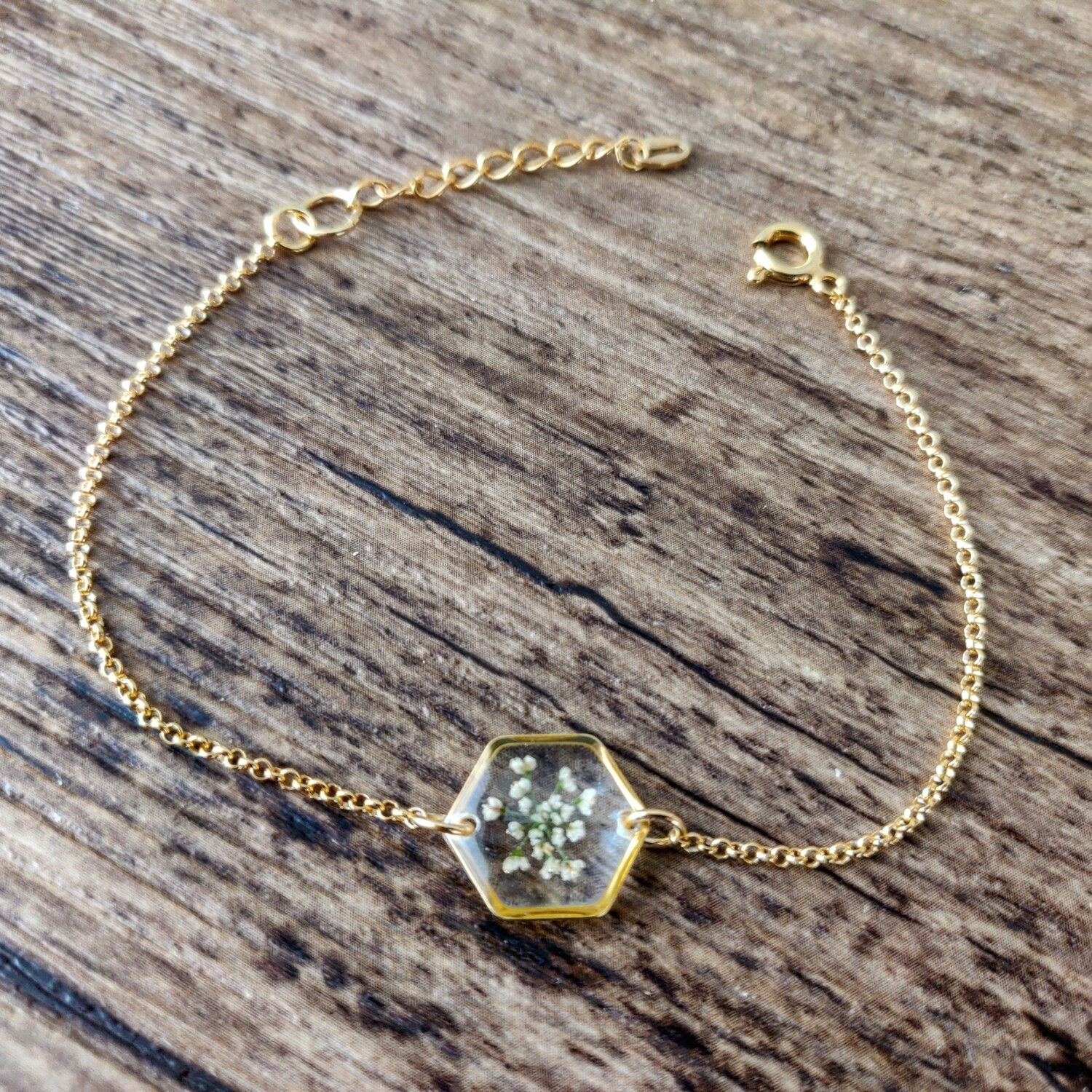 BLOSSOMS: armband goud hex klein