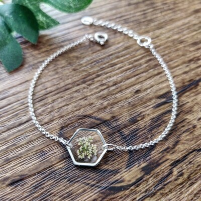 BLOSSOMS: armband zilver hex klein