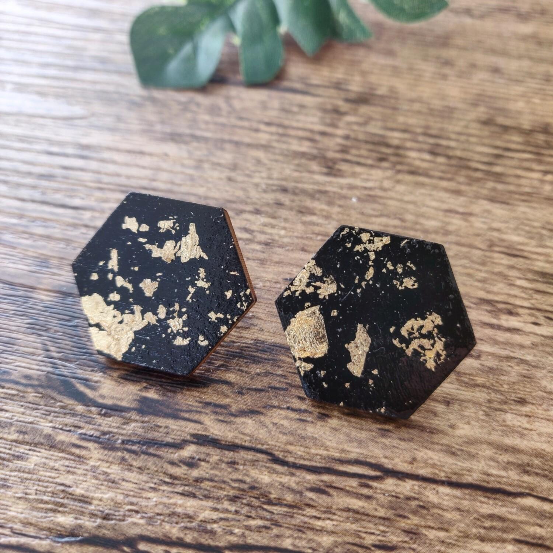 BLACK & GOLD: oorbellen hexagon GROOT