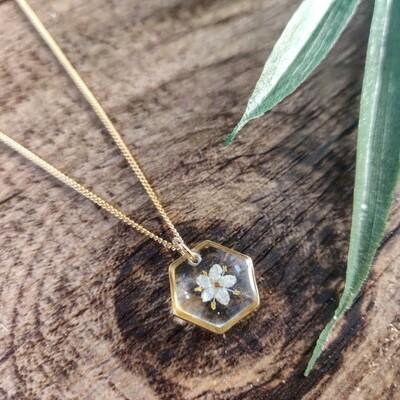 ELDERFLOWER: ketting goud hex klein