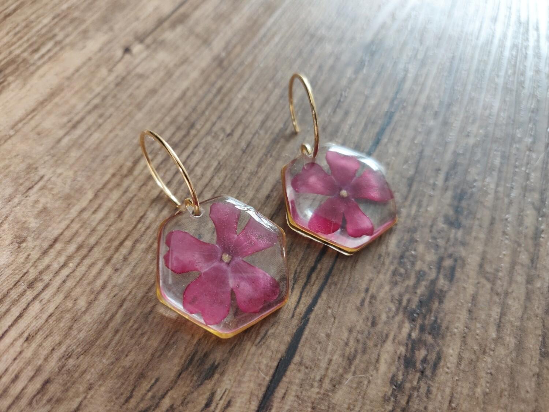 Bloemen roze: oorbellen hex groot goud
