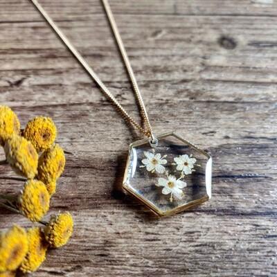 ELDERFLOWER: ketting goud hex groot