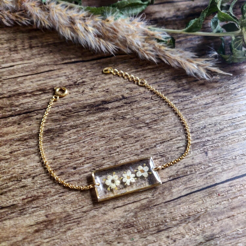 ELDERFLOWER: armband rechthoek goud