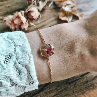 Pressed roses: armbandje goud hex klein