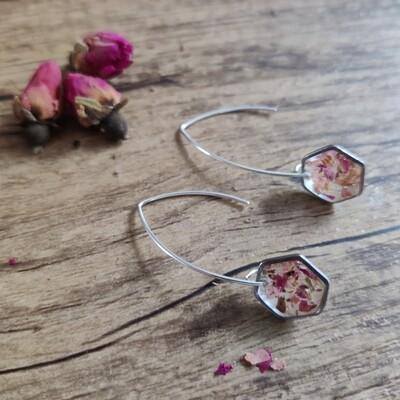 Pressed roses: oorbellen zilver hex lang klein