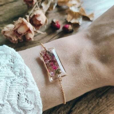 Pressed roses: armbandje goud rechthoek