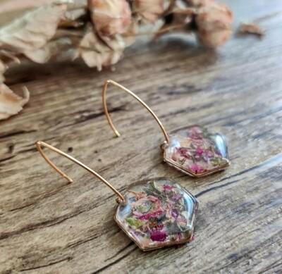 Pressed roses: oorbellen goud hex groot lang
