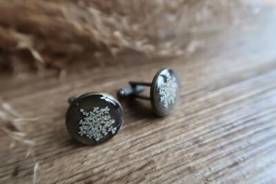 Manchetknopen: brons gedroogde blossoms