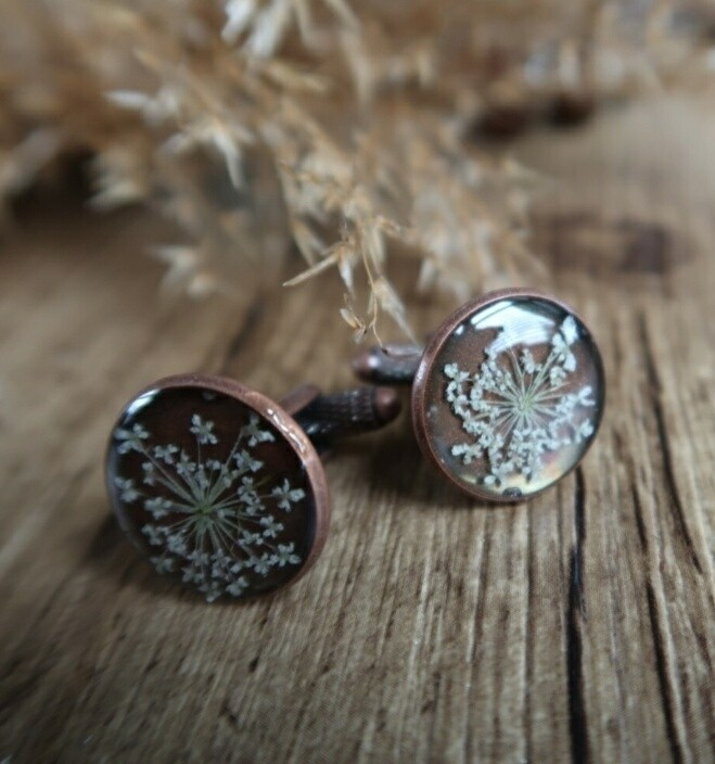 Manchetknopen: rose brons blossoms
