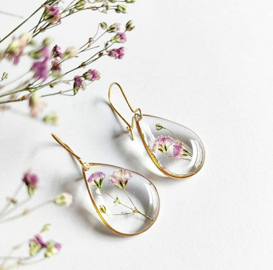 Gypsophila: oorbellen drops goud