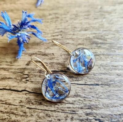 Korenbloem: oorbellen rond goud