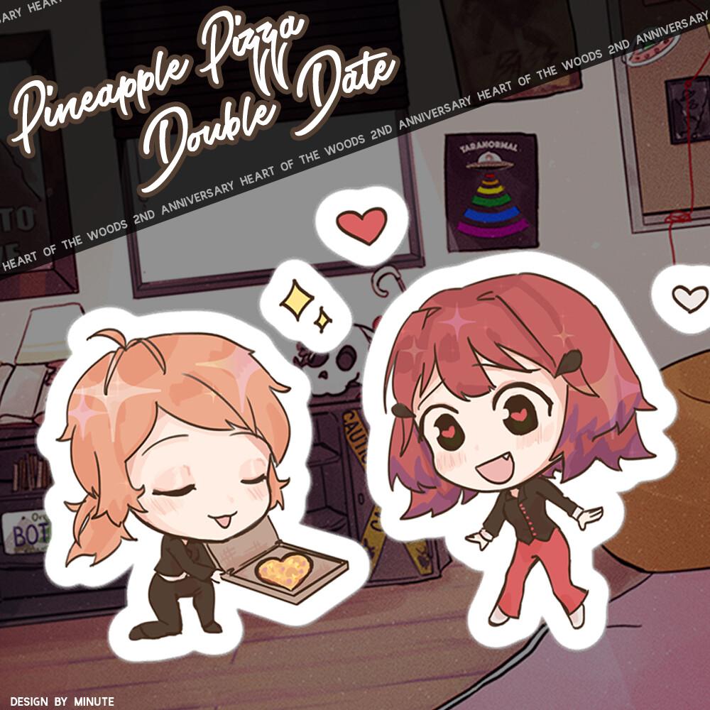 Pineapple Pizza Double Date Kiss Cut Sticker Sheet