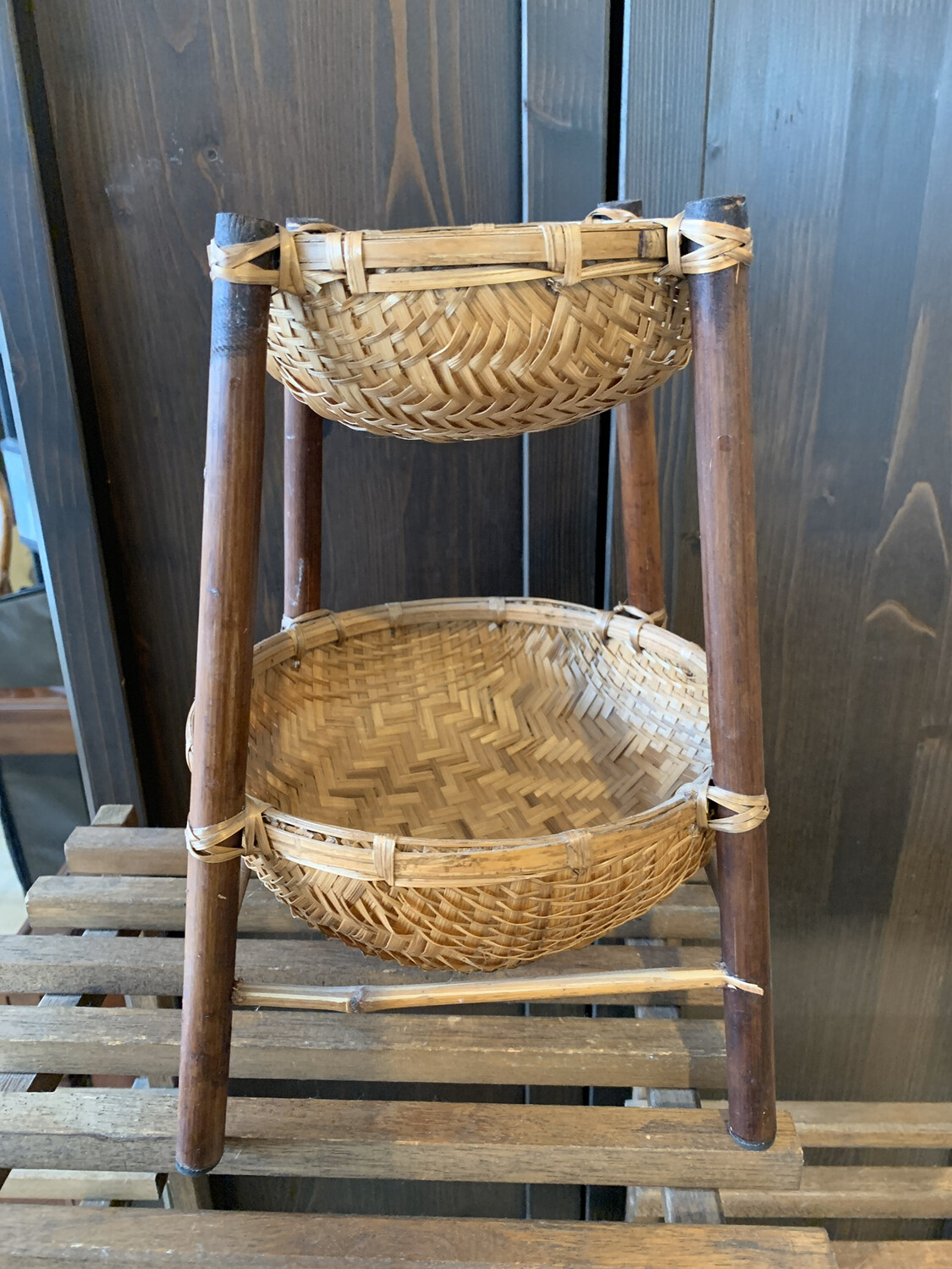 Two Tier Bamboo Basket