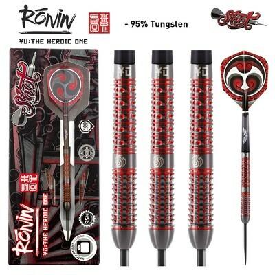 Shot! RONIN YU STEEL TIP DART SET-CENTRE WEIGHTED 95% TUNGSTEN BARRELS